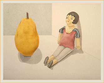 Doll with yellow pear