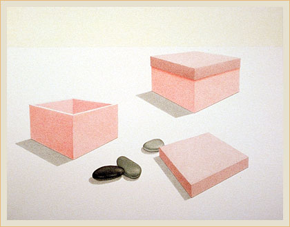 Two boxes, three stones