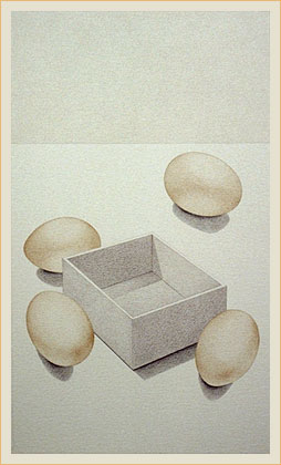 Four eggs and box