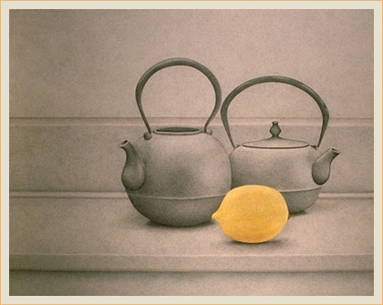 Still life with lemon and teapot