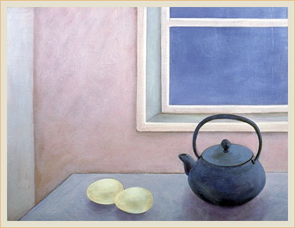 Still life with eggs and teapot