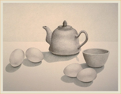Teapot and eggs